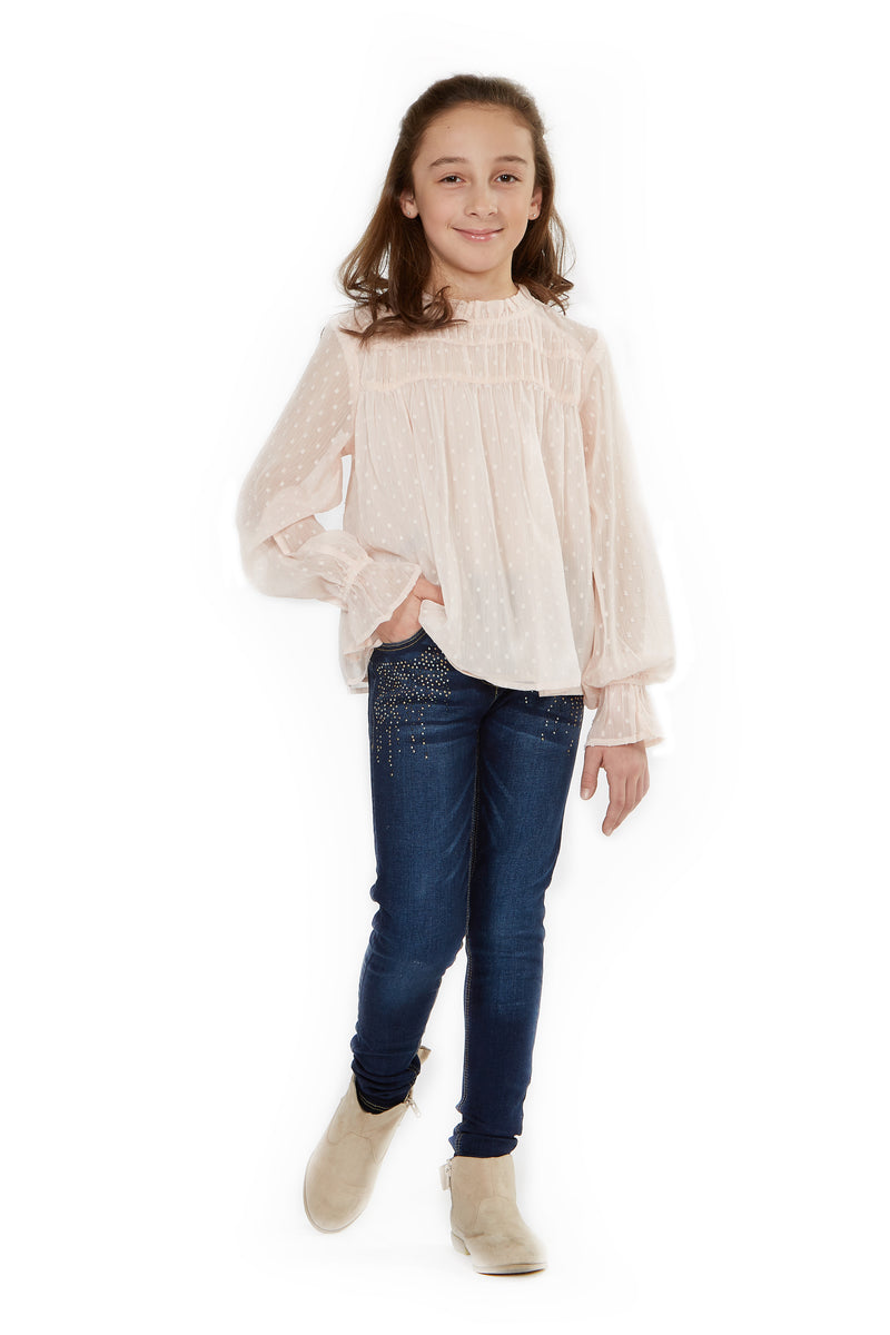 Long Sleeve Top With Ruffle Neck Collar