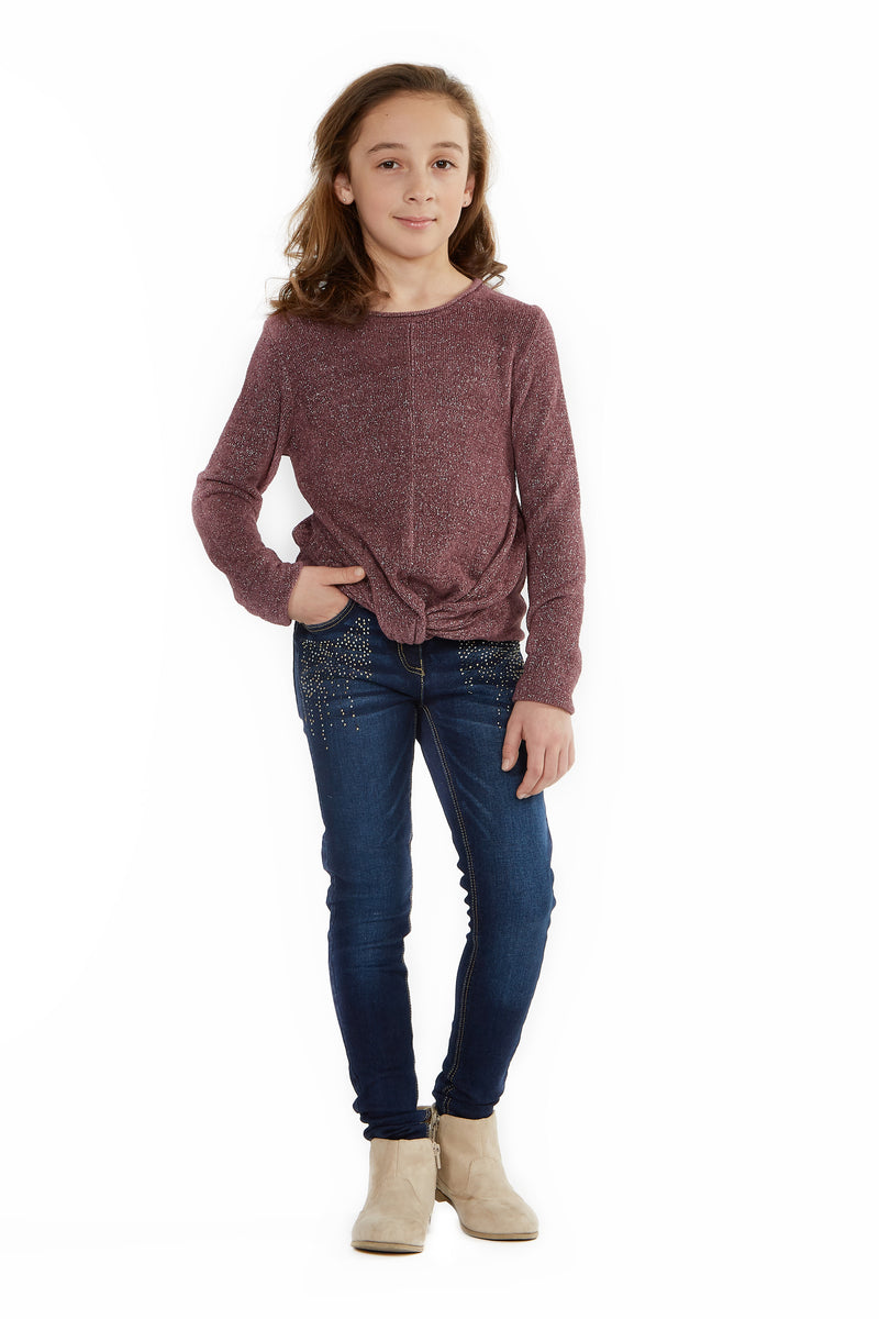 Long Sleeve Top With Knotted Waist