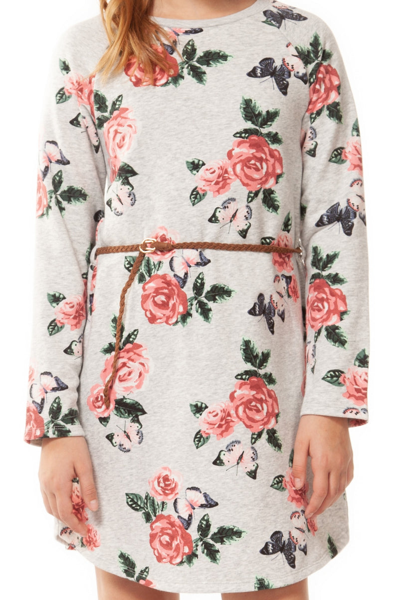 Floral Sweater Dress with Belt