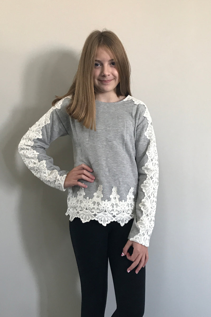 Long Sleeve Sweatshirt With Contrast Lace Details