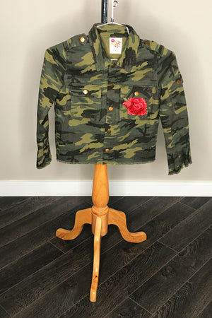 Military Jacket With Rose Applique