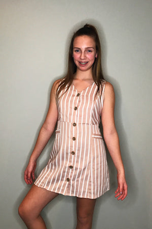 Stripe Button Down Dress with Pockets