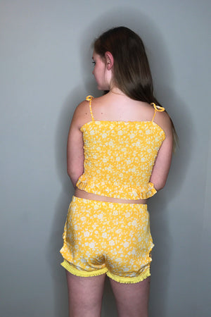 Yellow Short Set - Smocked Top