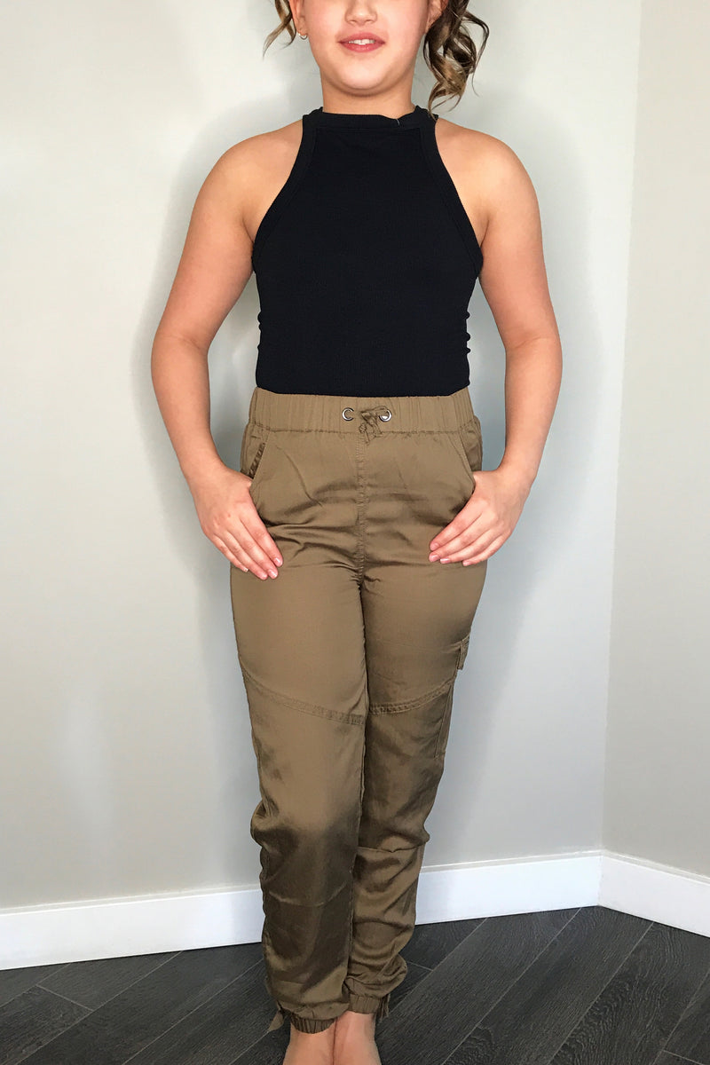 High Waist Tencel Pant with Bow Tie Hem