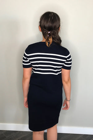 Navy Stripe Knit Dress