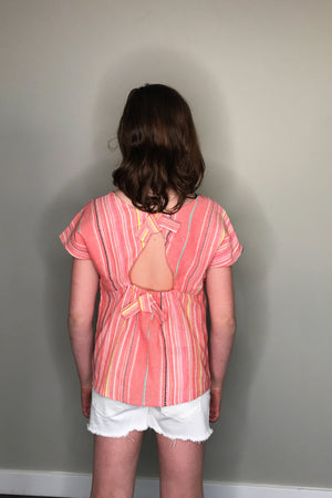 Woven Top with Back Cutout