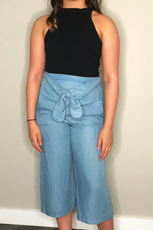 Wide Leg Pant with Waist Tie