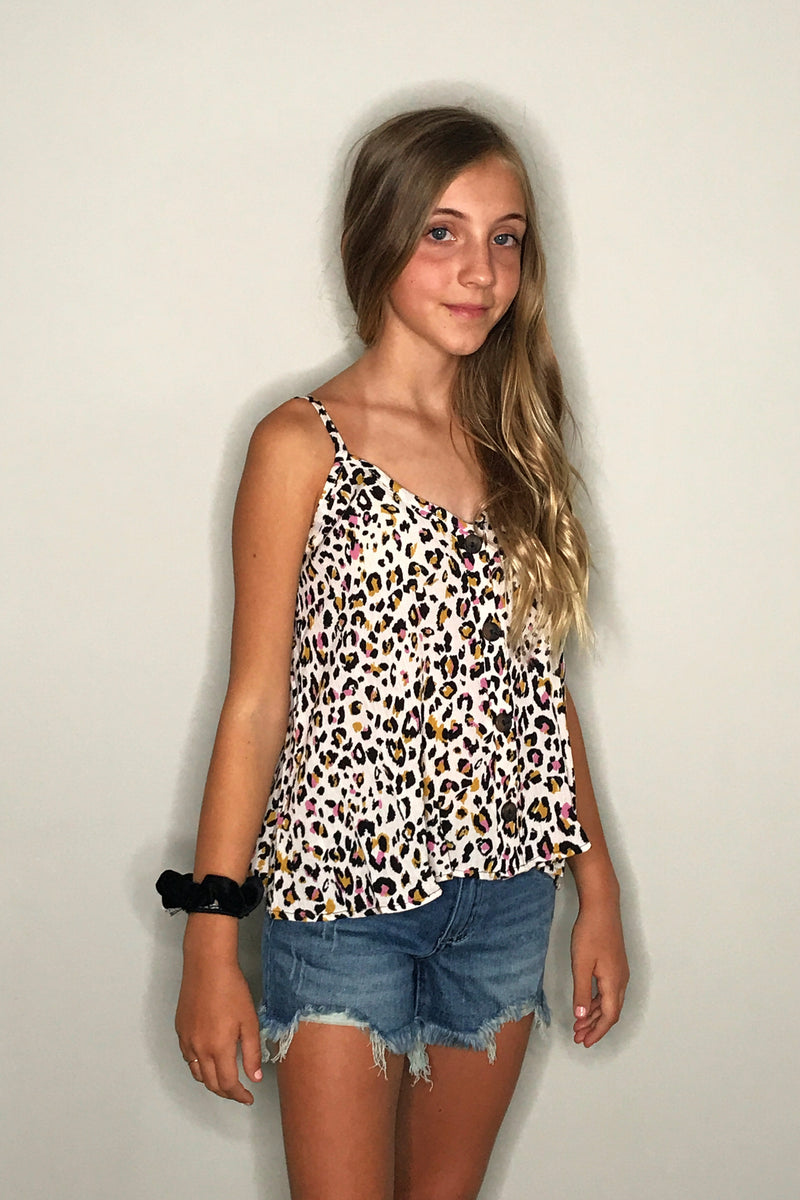 Button Down Leopard Tank