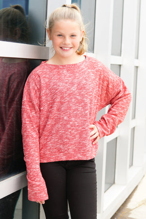 Long Sleeve Stoned Ribbed Top