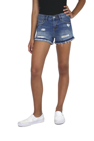 Five Pocket Cuffed Destructed Shorts