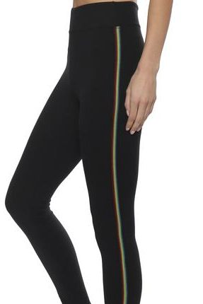 High Waist Brushed Poly Legging with Multicolour Stripe