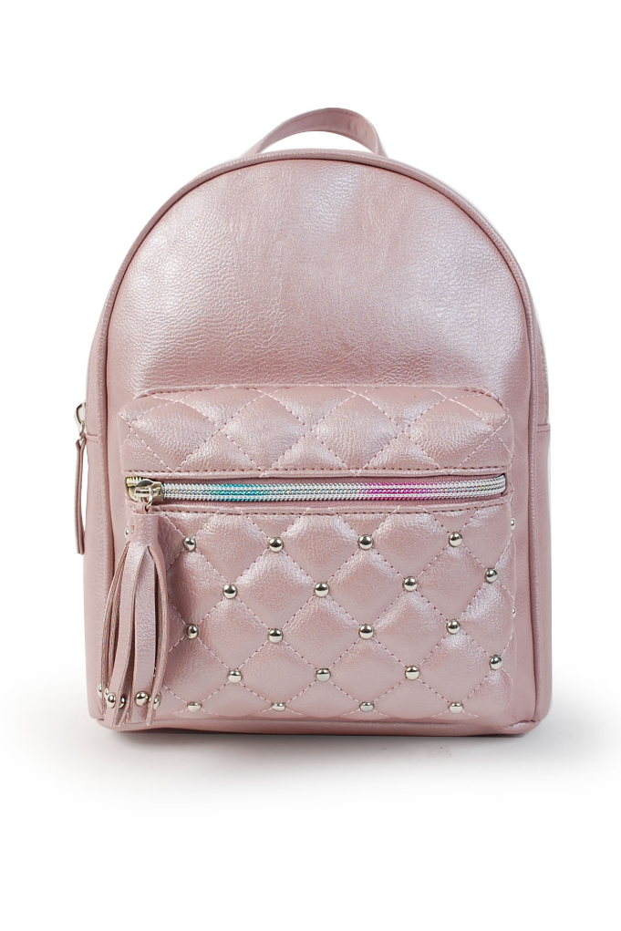Pearlized Mini Backpack with Quilted Pocket