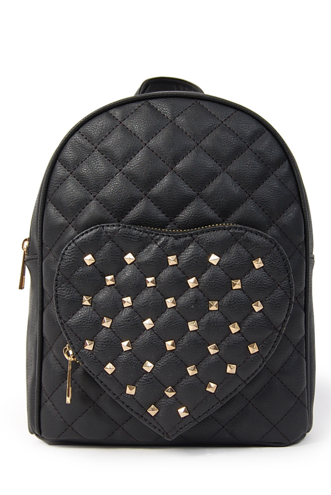 Quilted Mini Backpack with Studded Heart