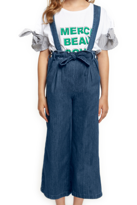 Denim Culottes with Tie Belt