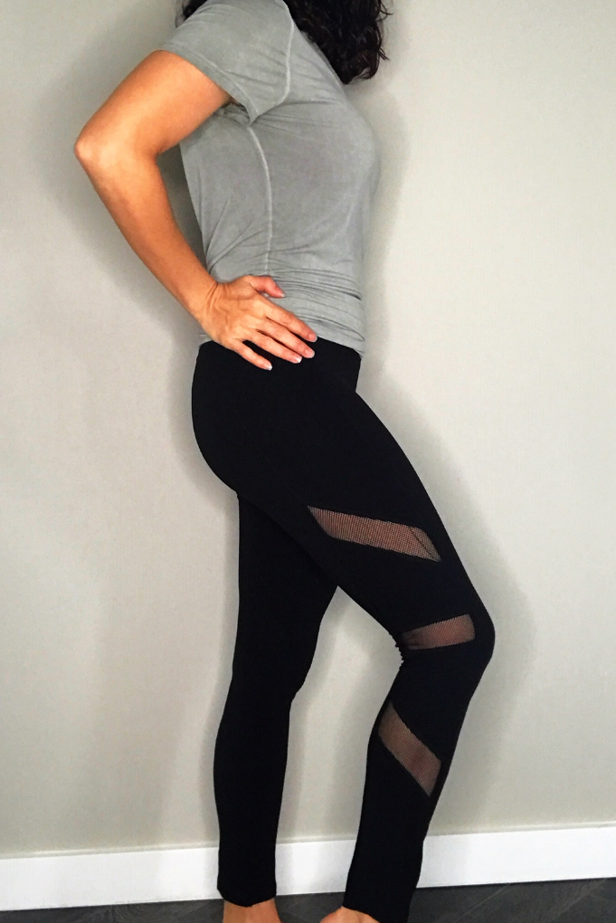 High Waist Leggings With Mesh Trim