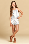 Stripe Shorts with Button and Ruffle Detail