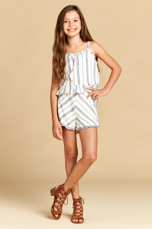 Stripe Top with Ruffle Detail