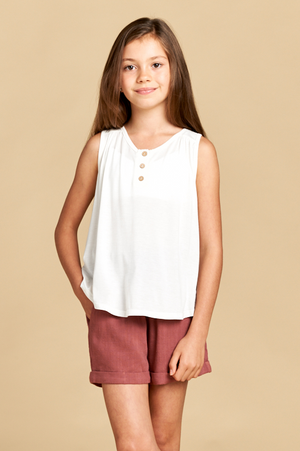 Sleeveless Top with Wood Buttons