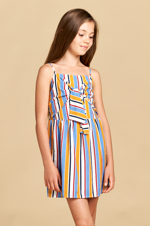 Stripe Dress with Tie Front