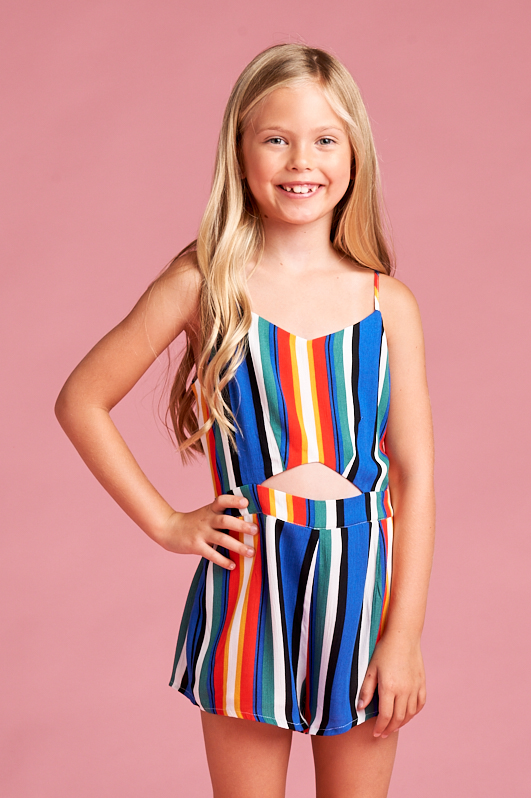 Multicoloured Stripe Romper with Cut Outs