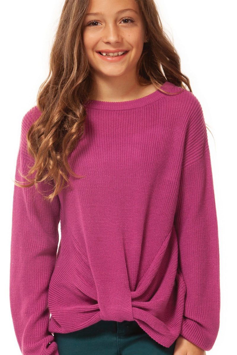 Knotted Long Sleeve Sweater with Scoop Neck
