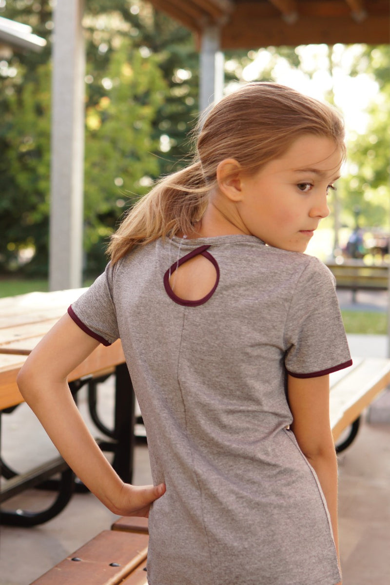 Short Sleeve Activewear Top with Back Detail