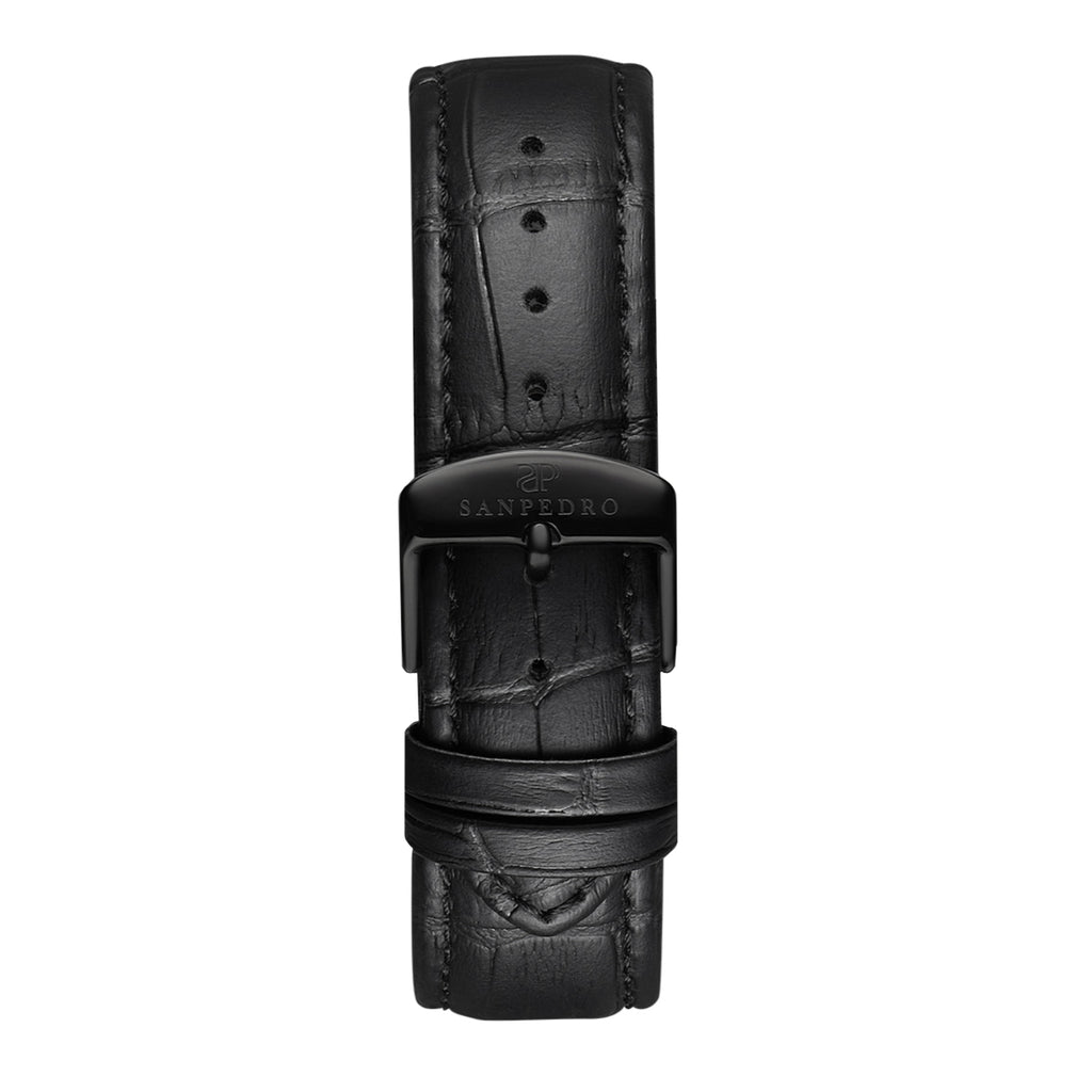Solid Black Alligator Pattern Leather Strap - Sanpedro Watches