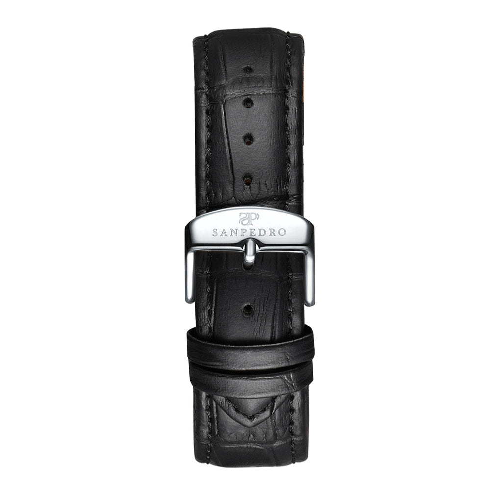 Black Silver Alligator Pattern Leather Strap - Sanpedro Watches