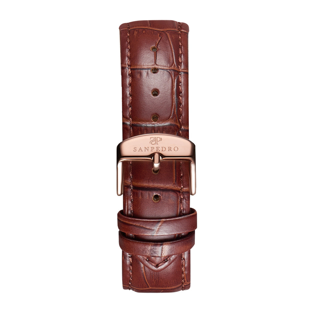 Brown Alligator Pattern Leather Strap - Sanpedro Watches