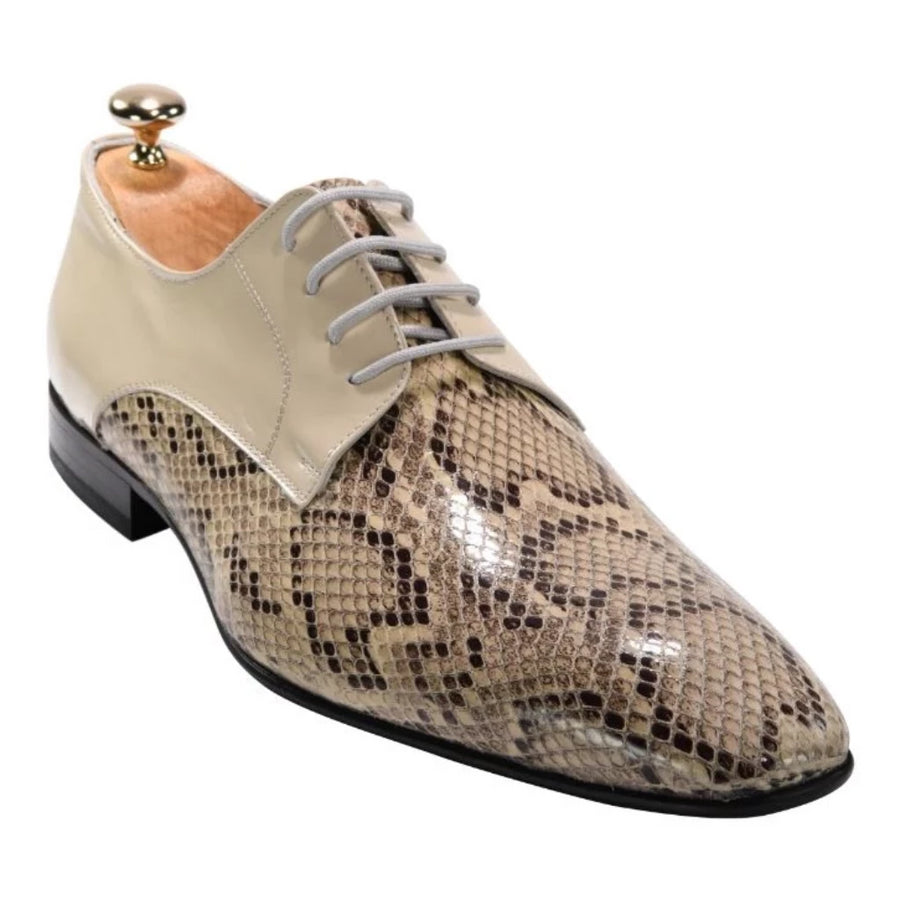 ZANE® Mario's Derby in a Snake Patterns Beige 4083BEG - ZANE FASHION