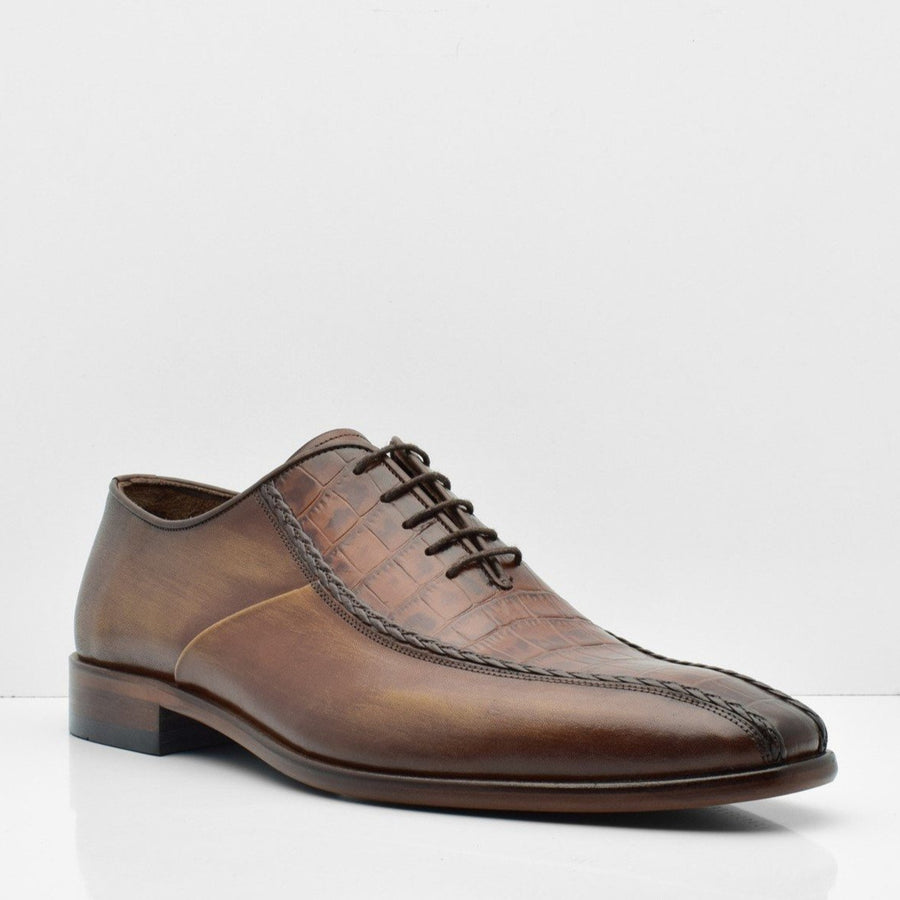Diamond Route Brown Leather Shoes - ZANE FASHION