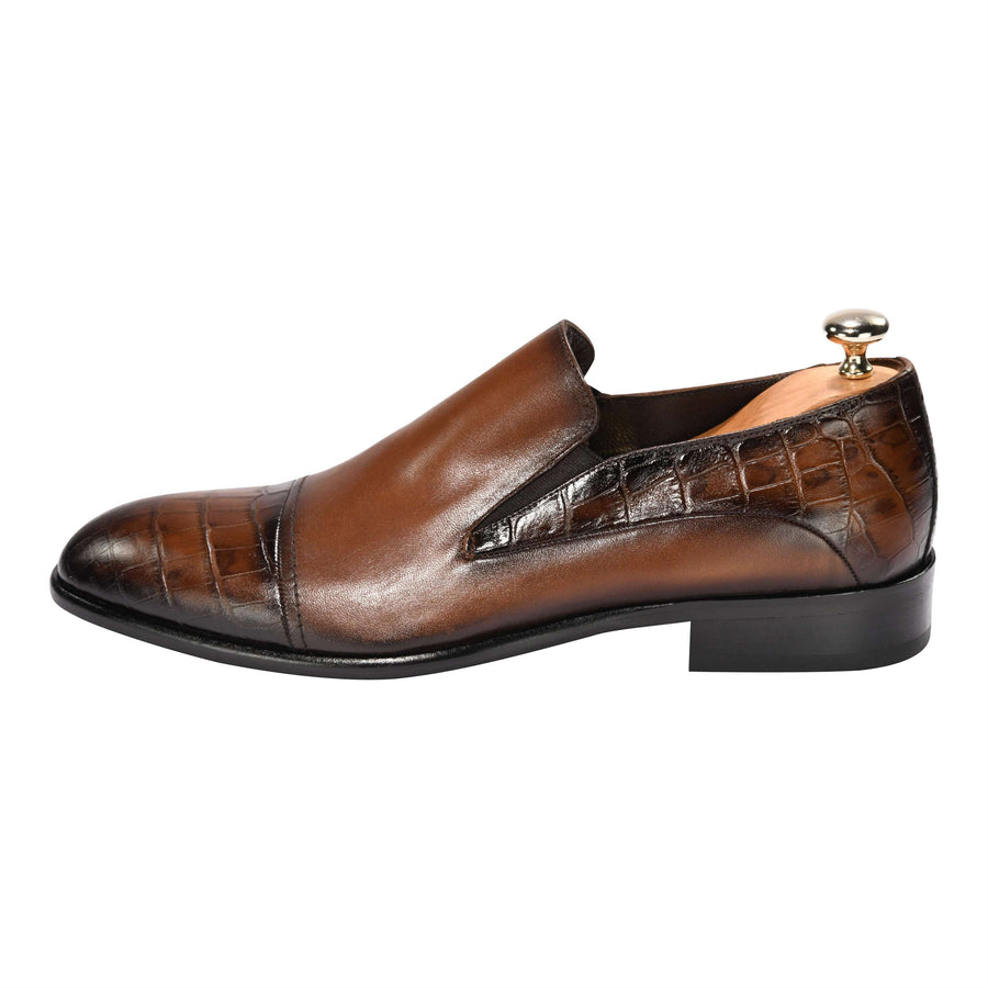 ZANE® Stefano's Loafer Crocodile Brown 4502BRN - ZANE FASHION
