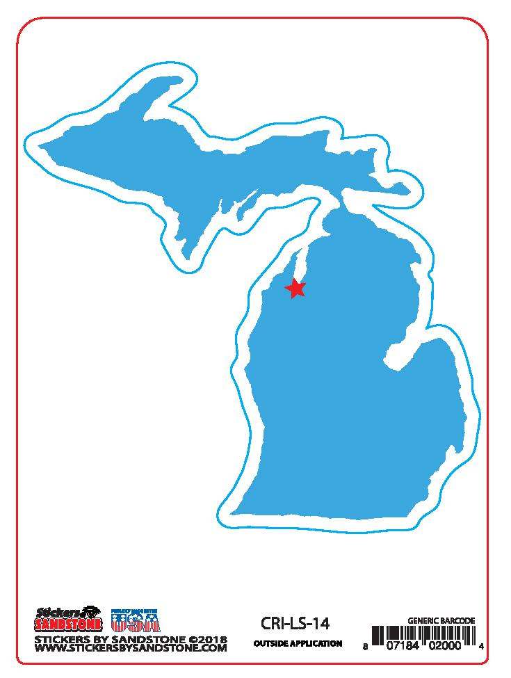 Blue Michigan Map Sticker