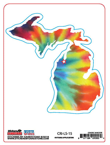 Multi Color Tie Dye Michigan Map Sticker