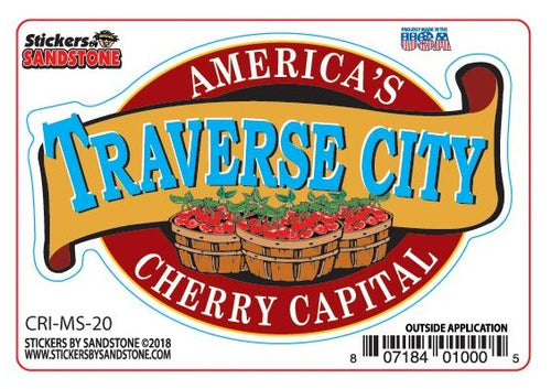 Traverse City Cherry Basket Sticker