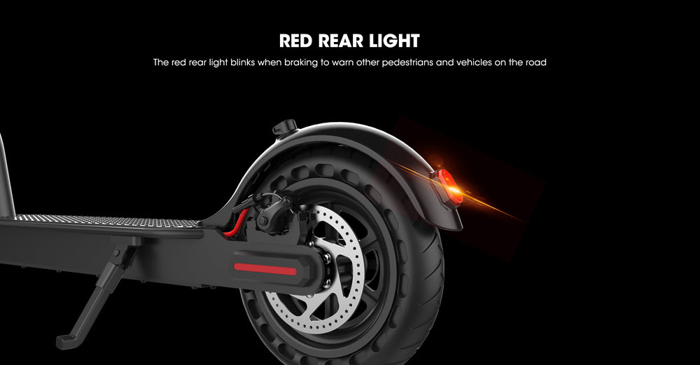 Red tail light flashes during braking to warn other pedestrians