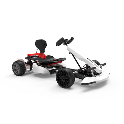 "White Off Road Go Kart for Kids and Adult - 8.5"" All Terrain Hoverboard Gokart - 6MPH - Outdoor Racer Pedal Car, Ride On Toys - including rose gold hoverboard"