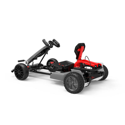 "Adult Pedal Go Kart - Grey Gokart with 8.5"" Off Road Hoverboard - including black & white hoverboard"