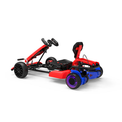 "Red Kids Go Kart - Red Go Kart and Electric 6.5"" Off Road Blue Hoverboard Combo - LED Light Wheels - 6 MPH"