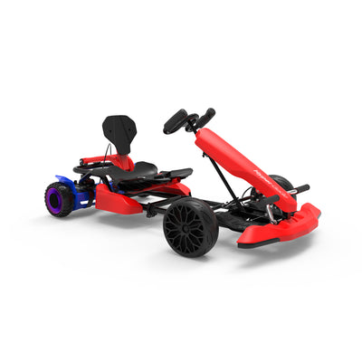"Red Kids Go Kart - Red Go Kart and Electric 6.5"" Off Road Hoverboard Combo - LED Light Wheels - 6 MPH"