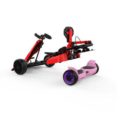"Red Kids Go Kart - Red Go Kart and Electric 6.5"" Off Road Pink Hoverboard Combo - LED Light Wheels - Double Fun"