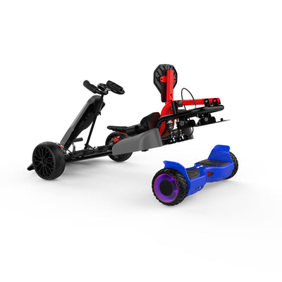 "Kids Pedal Go Kart - Grey Gokart and 6.5"" Off Road Blue hoverboard with LED Light Wheels for Childs"