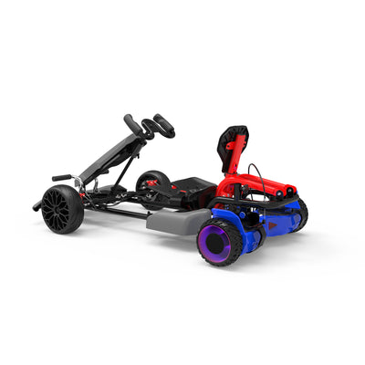 "Kids Pedal Go Kart - Grey Gokart and 6.5"" Off Road Blue hoverboard with LED Light Wheels"