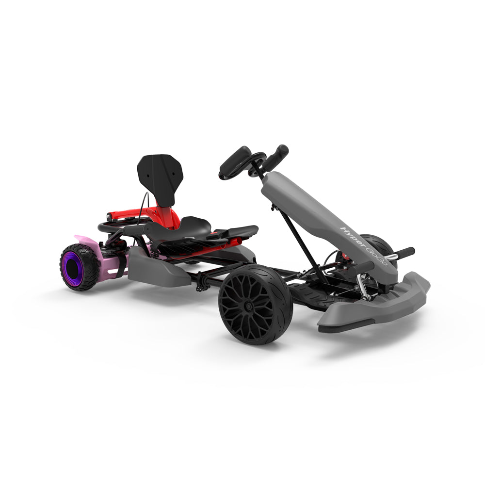 "Kids Pedal Go Kart - Grey Gokart and 6.5"" Off Road hoverboard with LED Light Wheels for Girls, Childs"