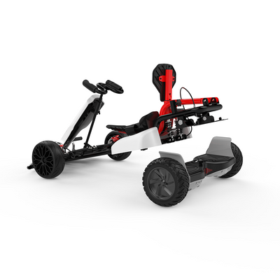 "White Off Road Go Kart for Kids and Adult - 8.5"" All Terrain Black Hoverboard & White Gokart"