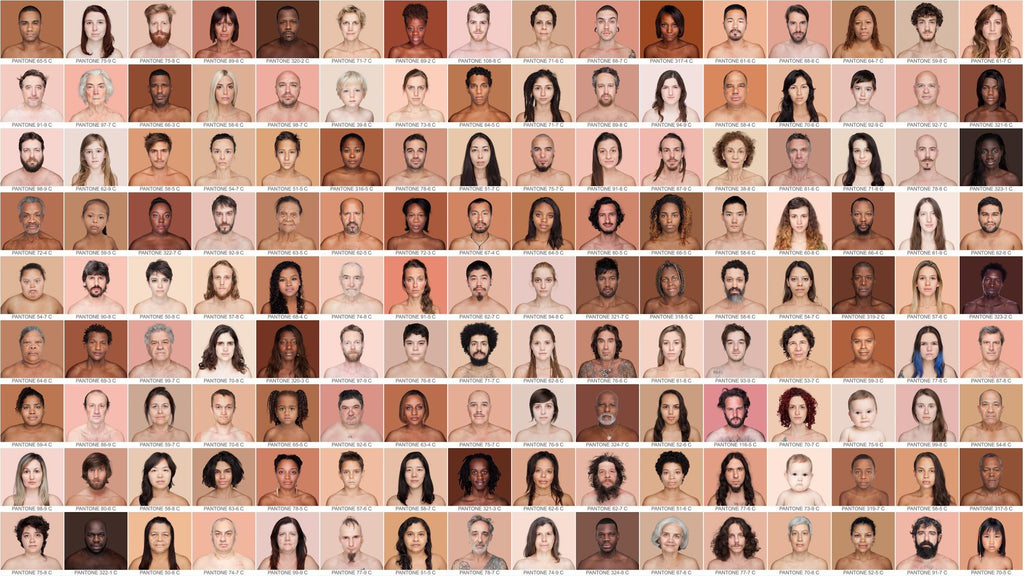 Angelica Dass - photographs of 10s of people of different skin colors, matched to different Pantone swatches