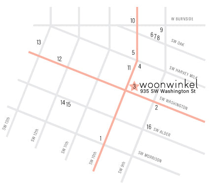 Map of the West End of Downtown with numbers corresponding to the numbers below