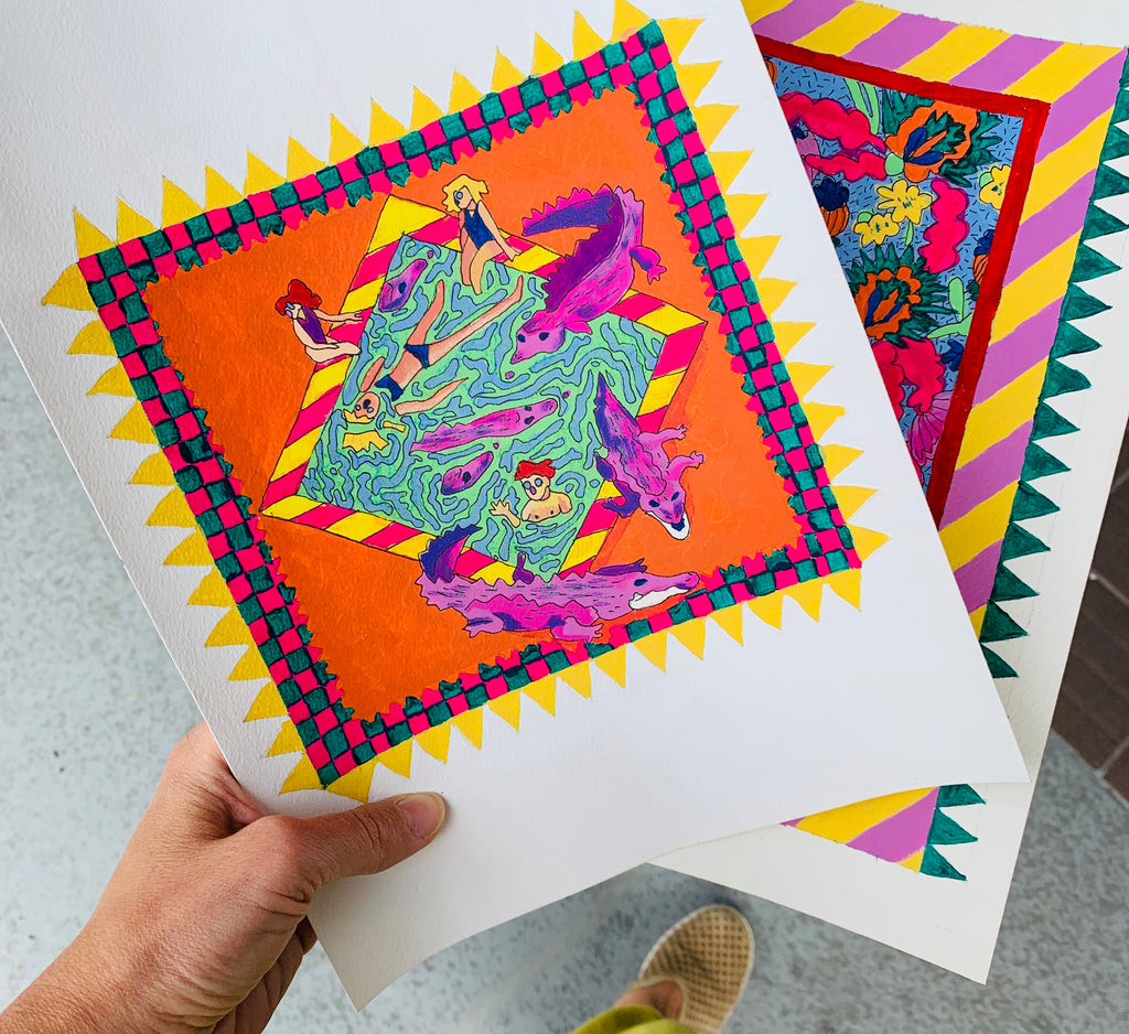 sketches for Dianne Da'Lama's quilts