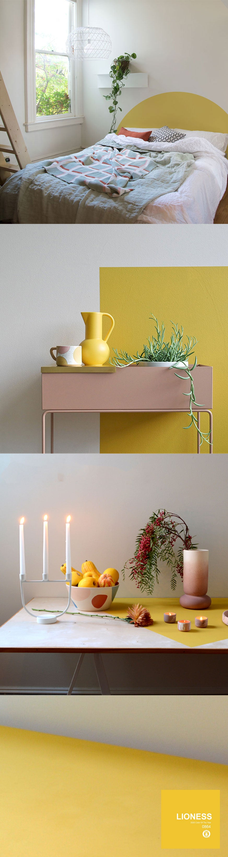3 projects showing the use of the yellow color Lioness: a bedroom, a table top, and a wall
