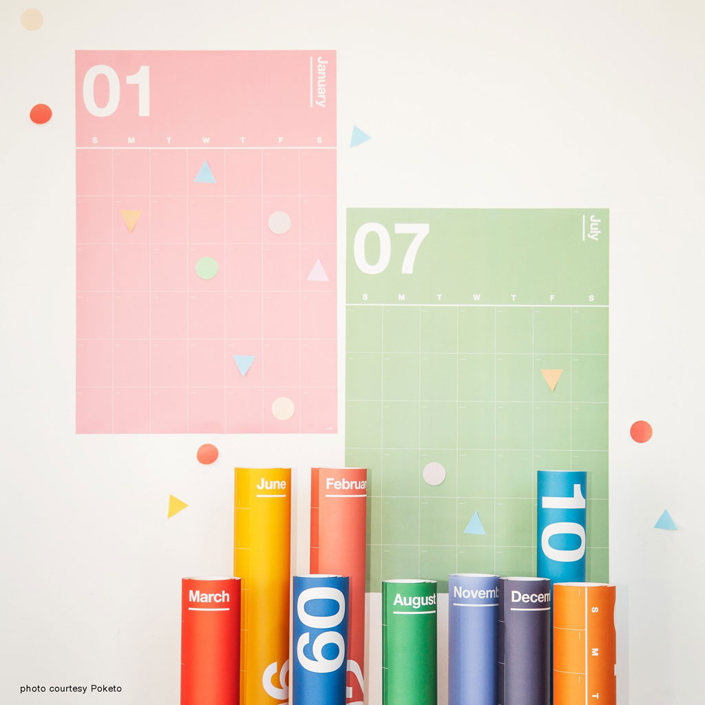 poster sized wall calendar--separate sheets for each month--each month is a different color